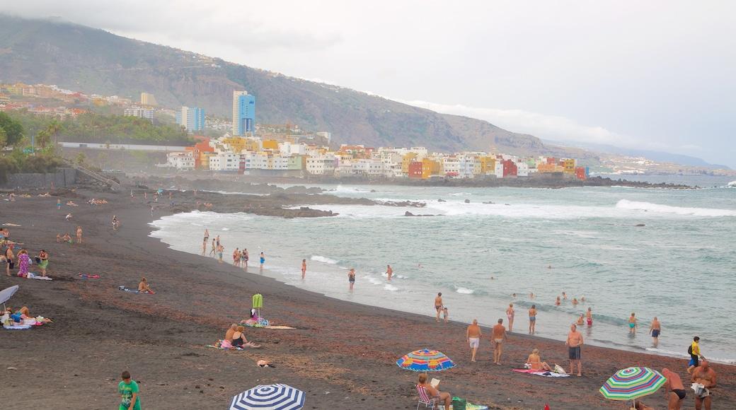 Garden Strand som omfatter en kystby, svømning og udsigt over kystområde
