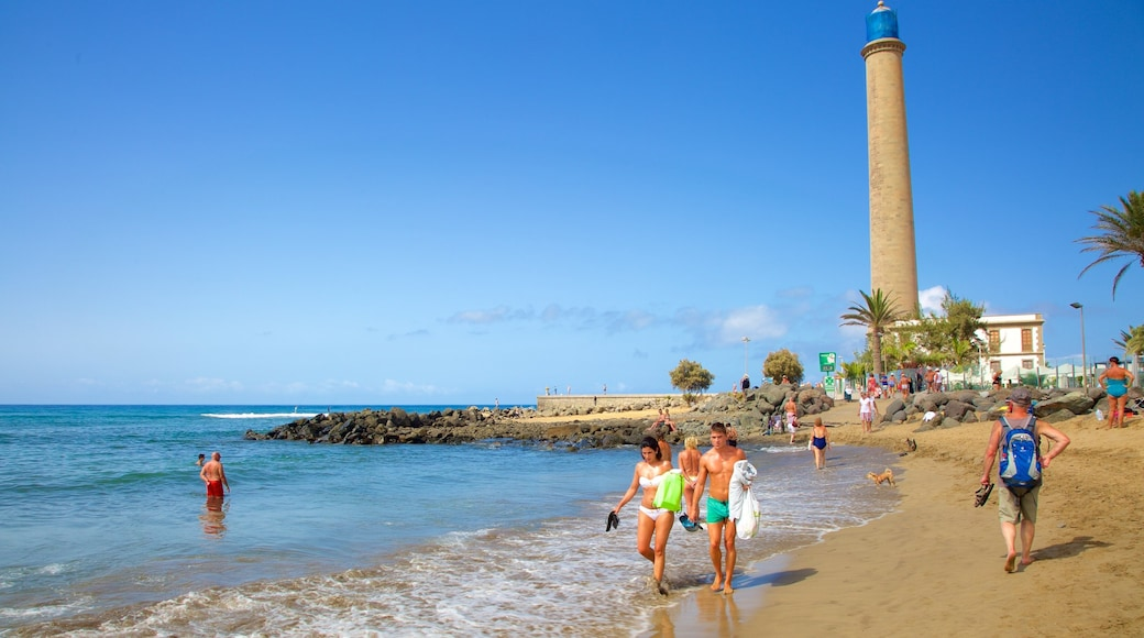 Maspalomas Lighthouse featuring general coastal views, a lighthouse and a beach