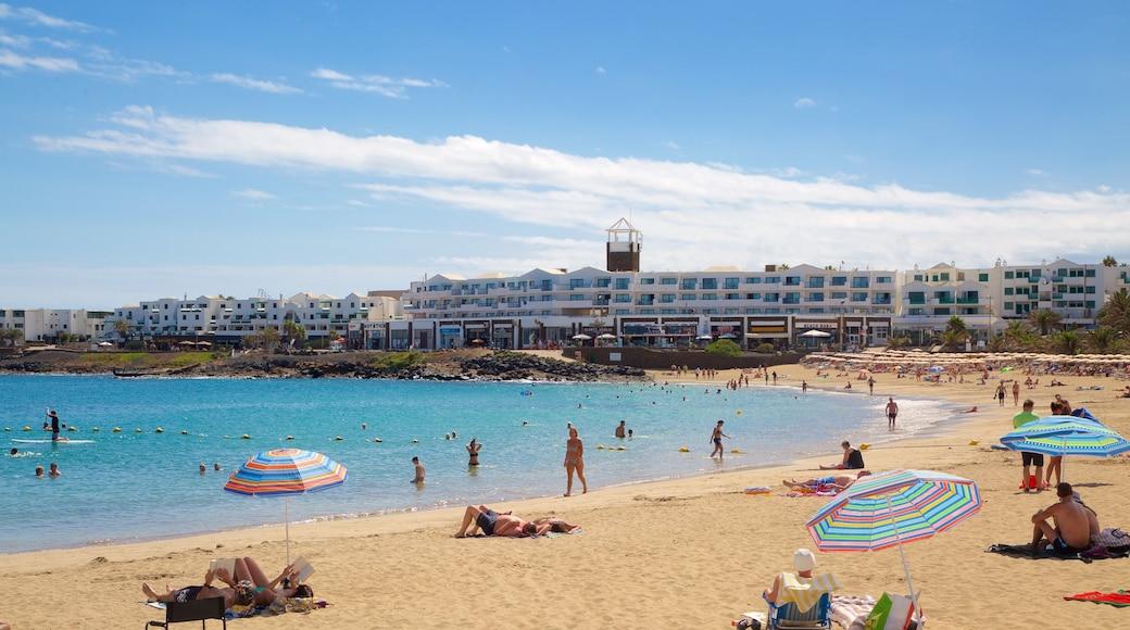 Las Cucharas Beach showing a coastal town, a sandy beach and swimming