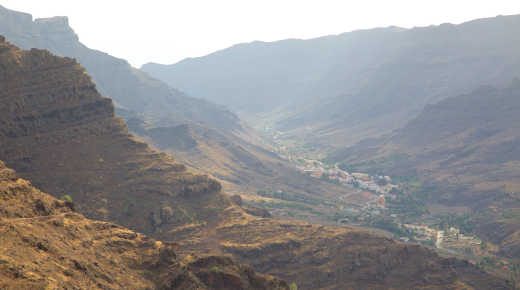 Gran Canaria showing a gorge or canyon and a small town or village