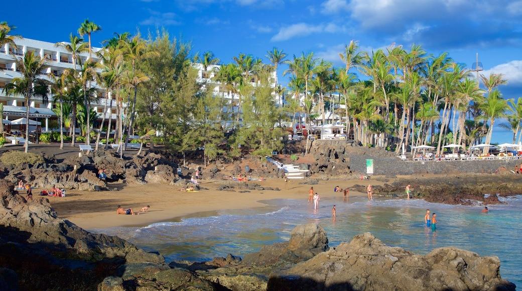 Puerto del Carmen montrant plage, ville côtière et vues littorales