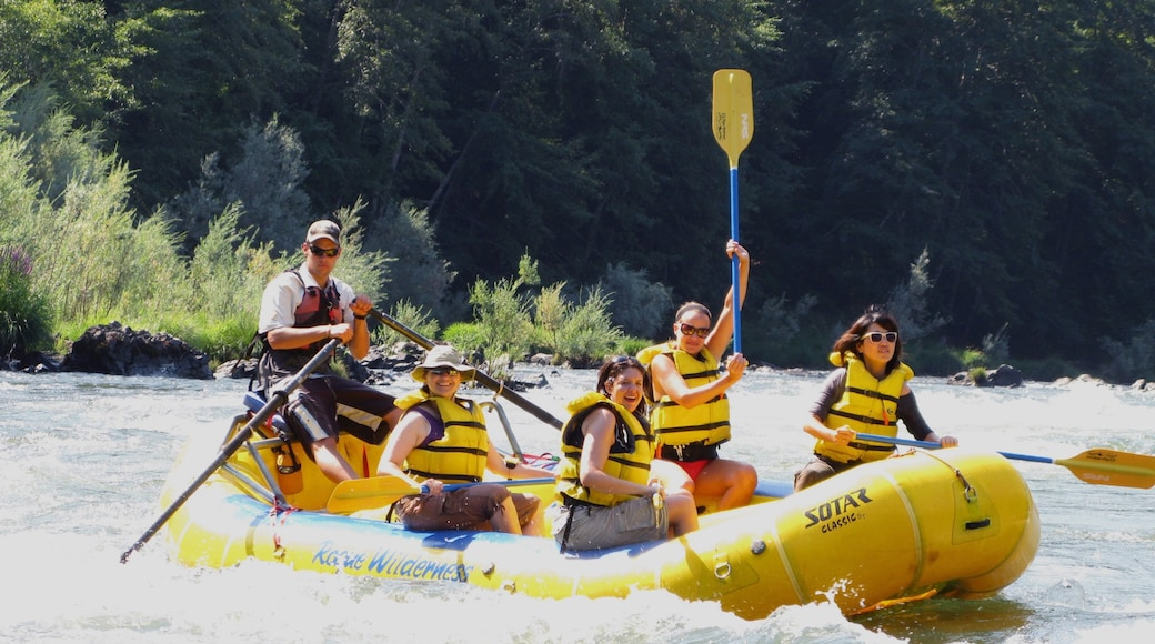 Rogue River showing rafting and rapids as well as a small group of people