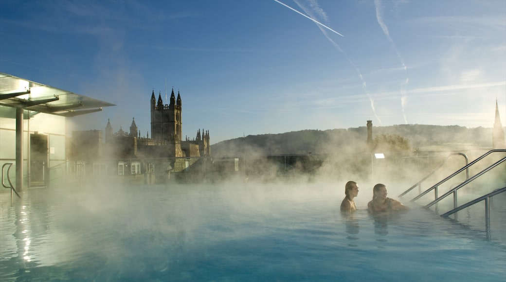 Thermae Bath Spa which includes heritage architecture, mist or fog and a pool