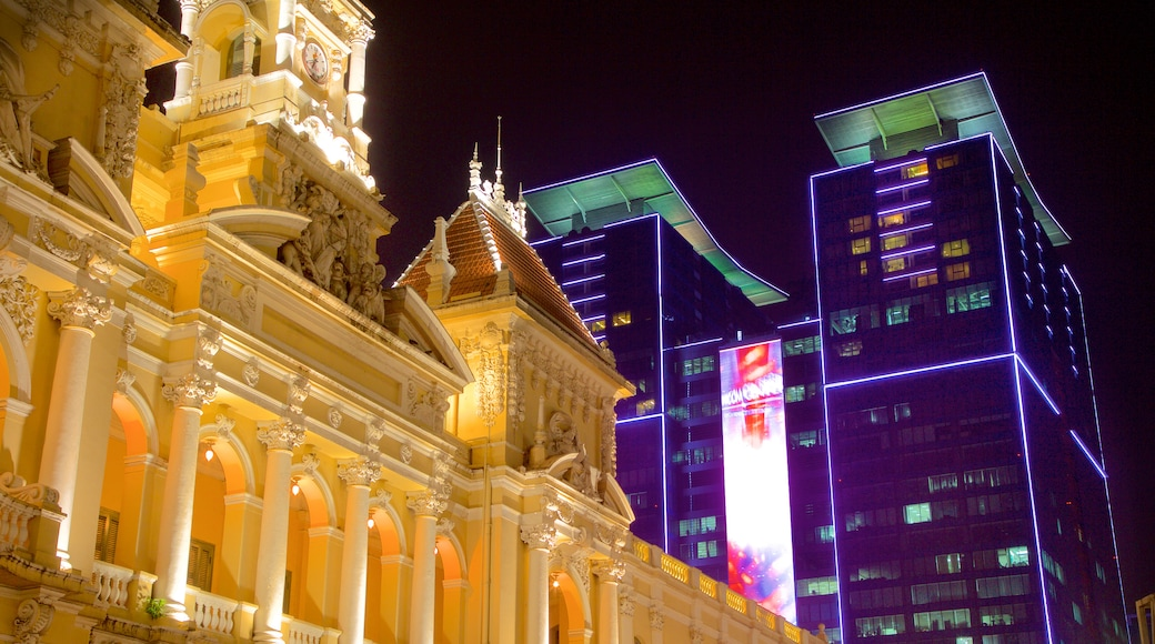 Ho Chi Minh City Hall showing heritage architecture, modern architecture and night scenes