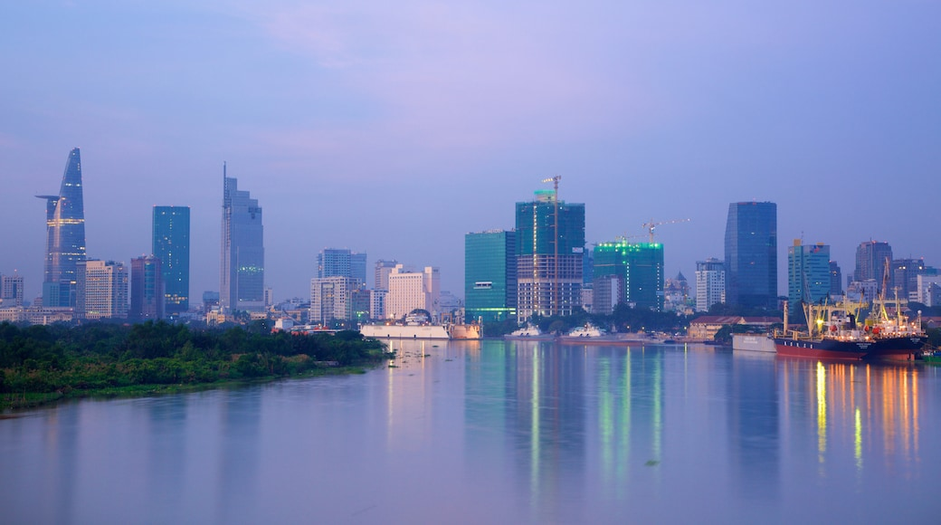 Saigon River which includes a city, a lake or waterhole and skyline