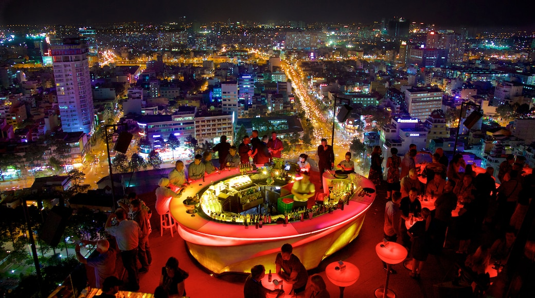 Ho Chi Minh City featuring a city, night scenes and a bar