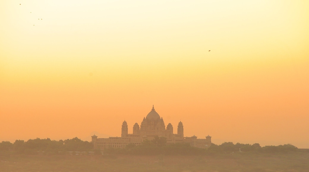 Umaid Bhawan Palace featuring château or palace and a sunset