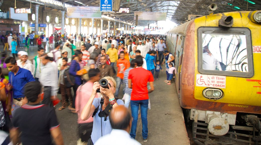 Chhatrapati Shivaji Terminus which includes railway items as well as a large group of people