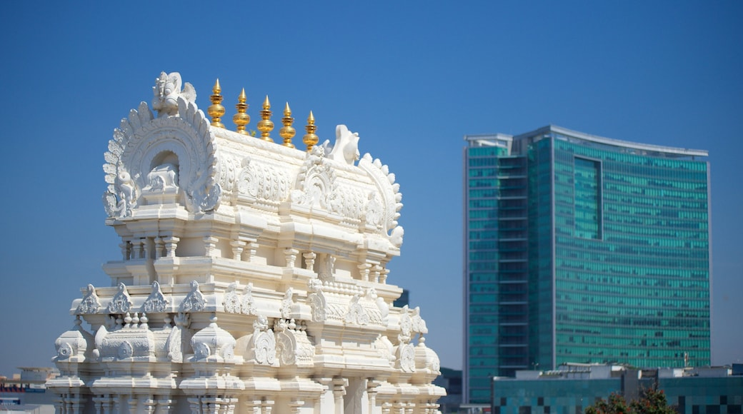 ISKCON Temple featuring a temple or place of worship, heritage elements and heritage architecture