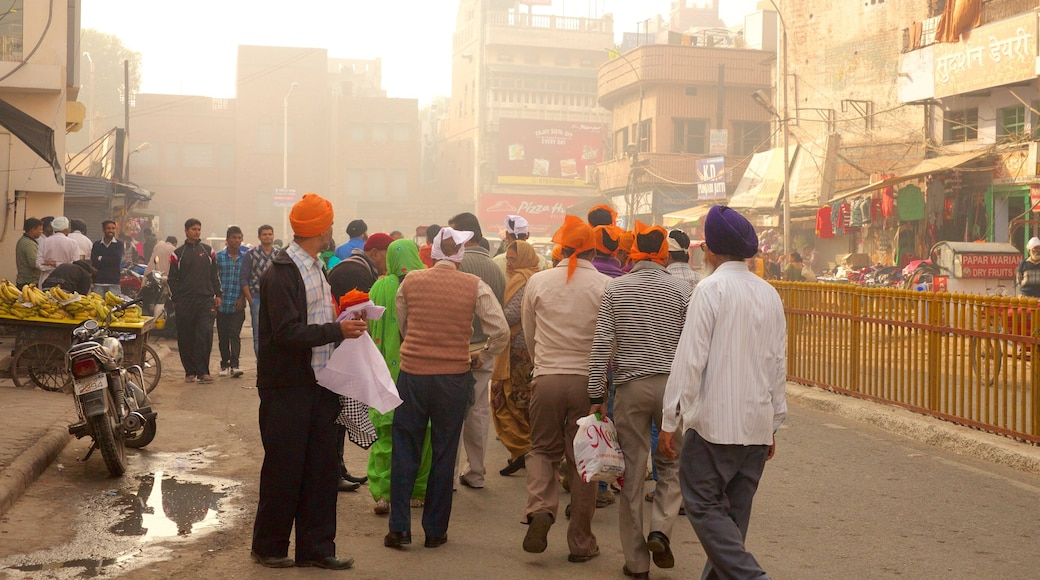 Amritsar showing street scenes and a city as well as a large group of people