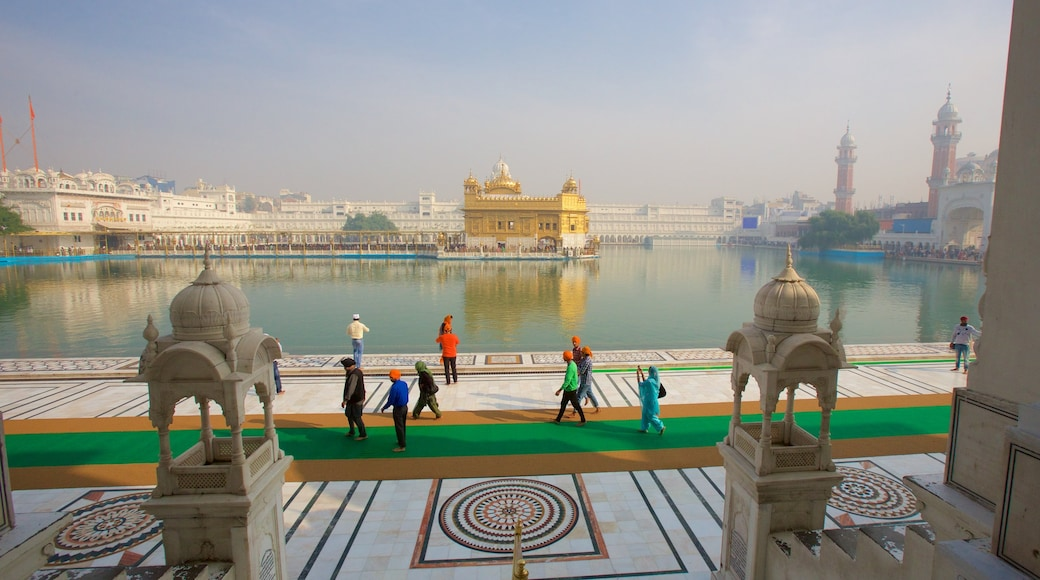 Golden Temple featuring heritage architecture, heritage elements and a lake or waterhole