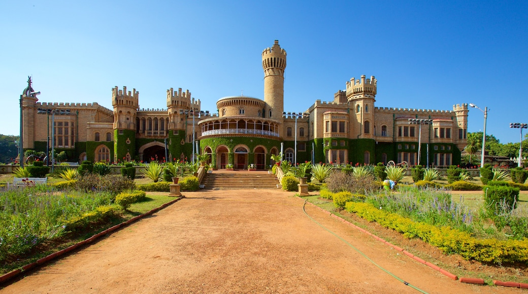 Bangalore Palace which includes a castle, a garden and heritage architecture