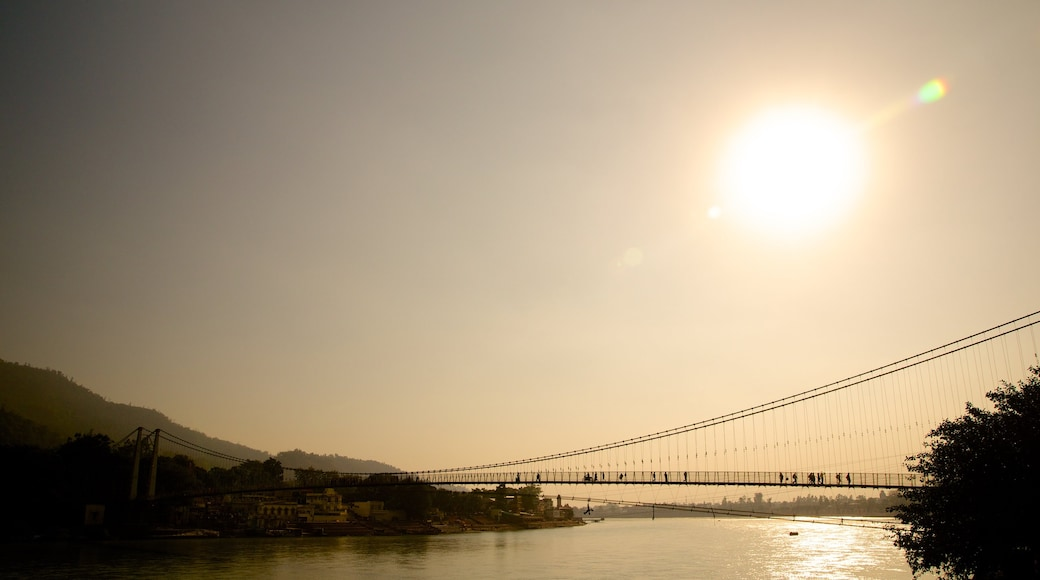 Ram Jhula showing a bridge and a river or creek
