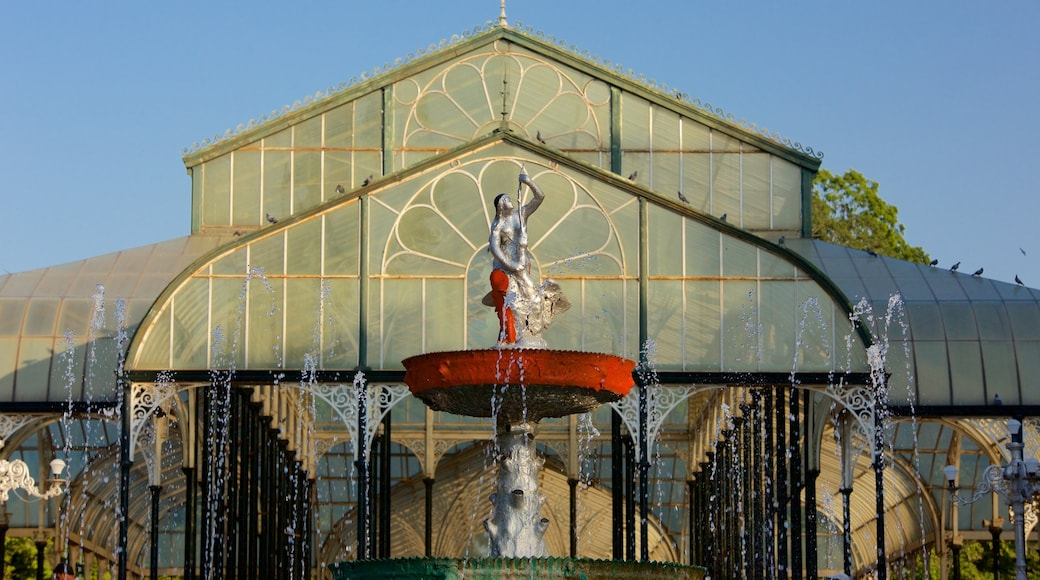 Lalbagh Botanical Gardens featuring a fountain and a statue or sculpture