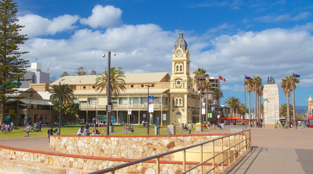 Glenelg Jetty which includes heritage architecture, a square or plaza and central business district