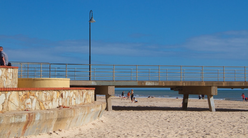 Glenelg Jetty which includes general coastal views and a beach