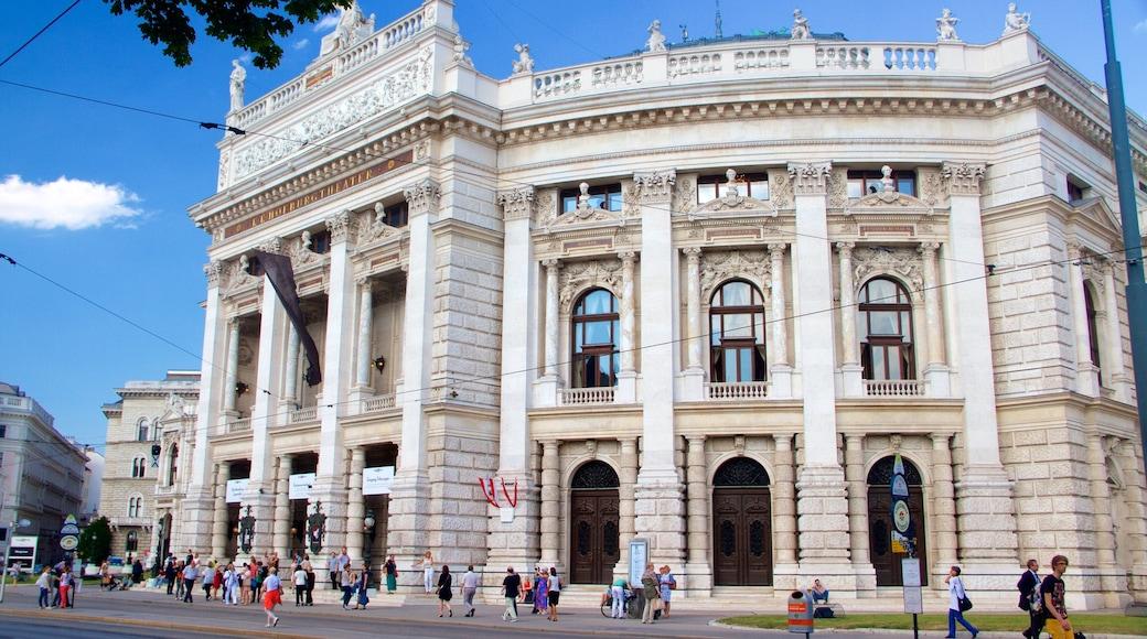 Burgtheater bevat historische architectuur, centraal zakendistrict en een stad