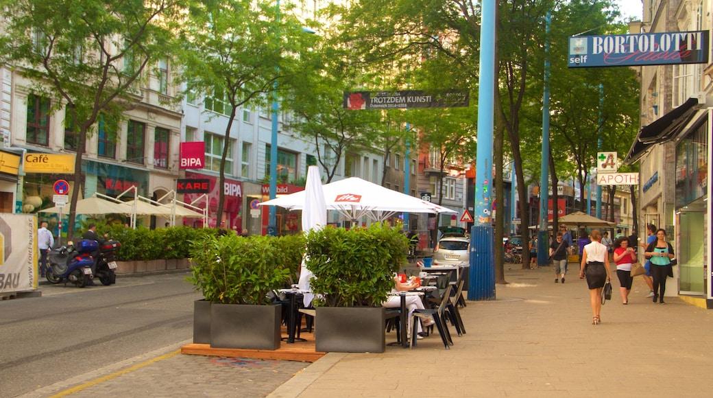 Mariahilfer Street bevat buiten eten, steden en straten