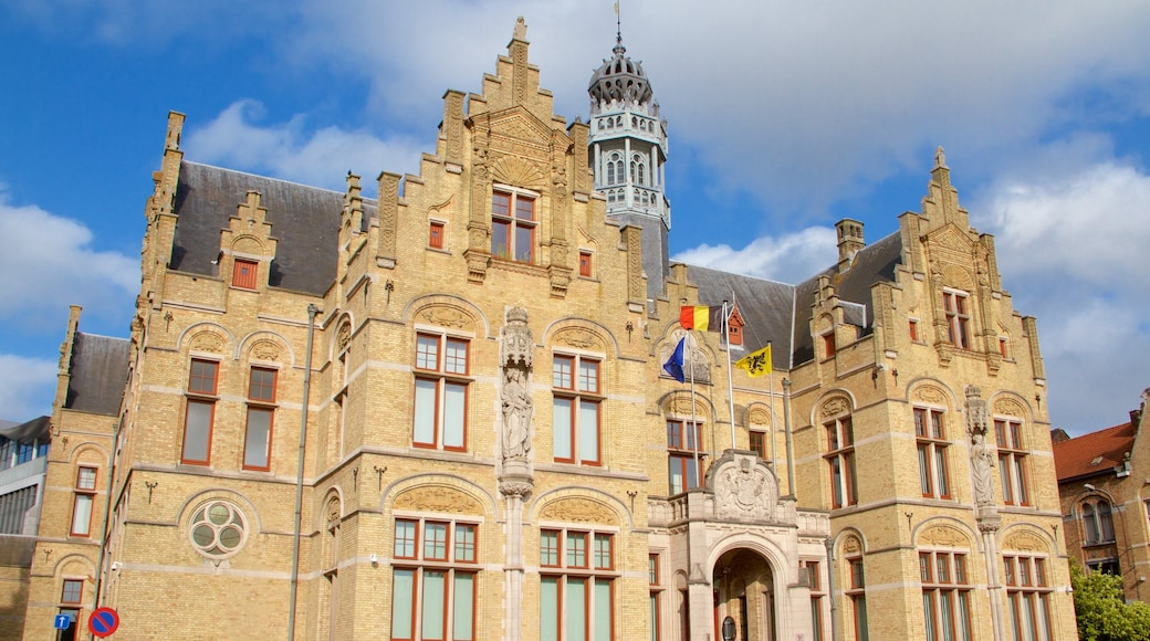 Ypres Market Square featuring heritage elements and heritage architecture
