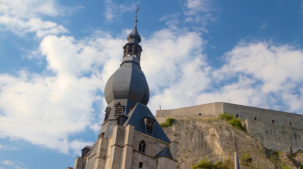 Dinant Cathedral toont een kerk of kathedraal, religieuze aspecten en historische architectuur