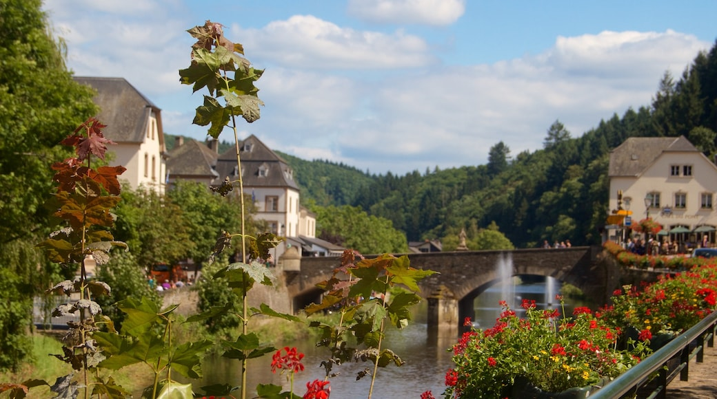 Vianden which includes a bridge, tranquil scenes and a small town or village
