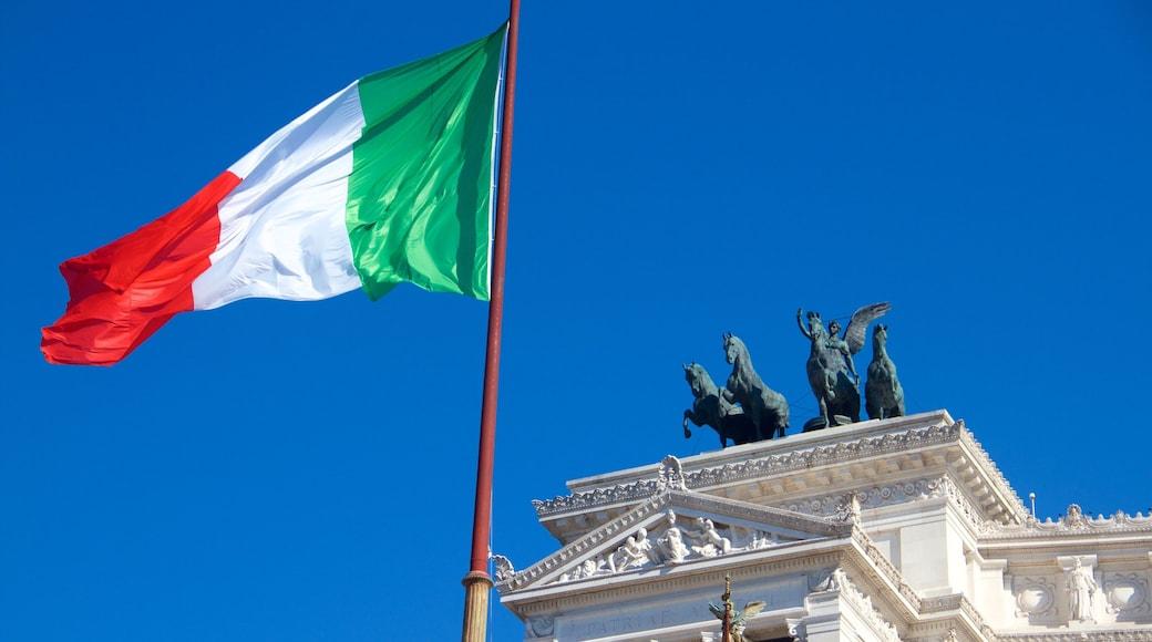 Nasjonalmonumentet for Victor Emmanuel II som inkluderer statue eller skulptur og historisk arkitektur