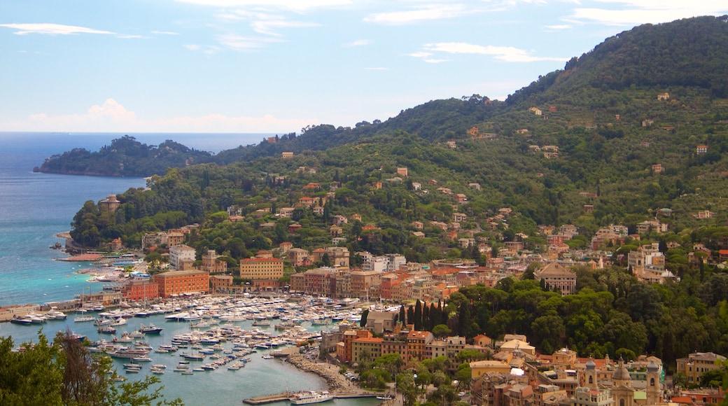Portofino das einen allgemeine Küstenansicht, Bucht oder Hafen und Küstenort