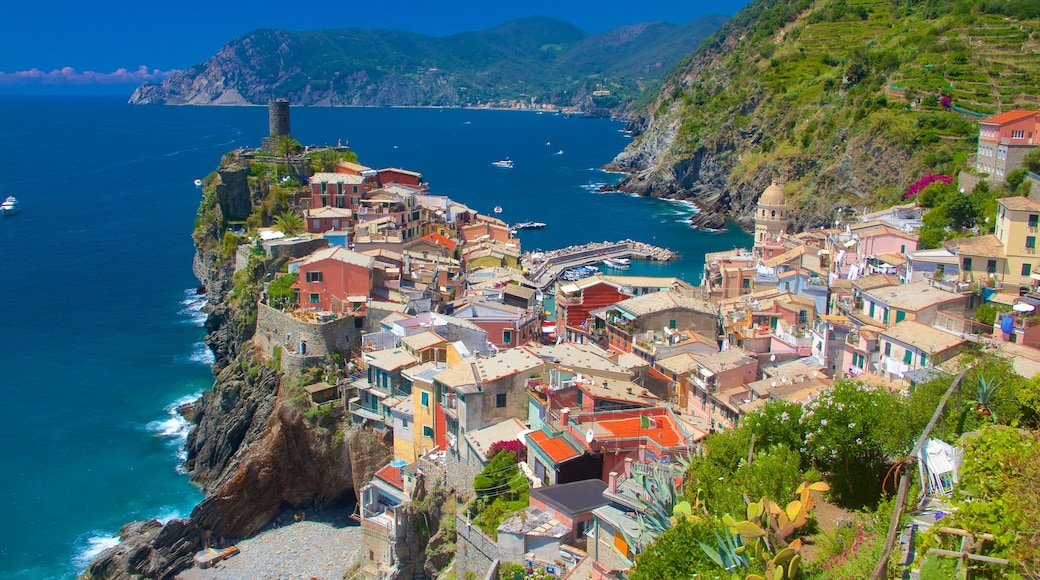 Vernazza showing a city, general coastal views and a coastal town