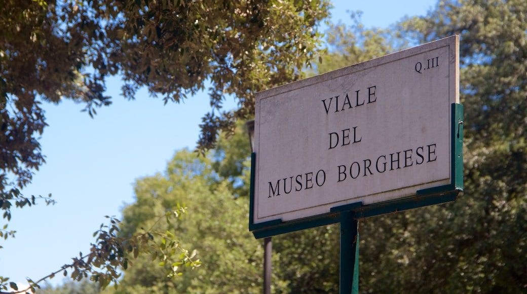 Villa Borghese showing signage