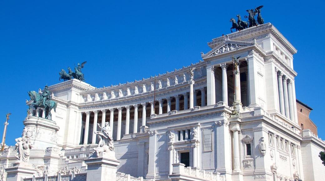 Nasjonalmonumentet for Victor Emmanuel II fasiliteter samt palass, historisk arkitektur og kulturarv