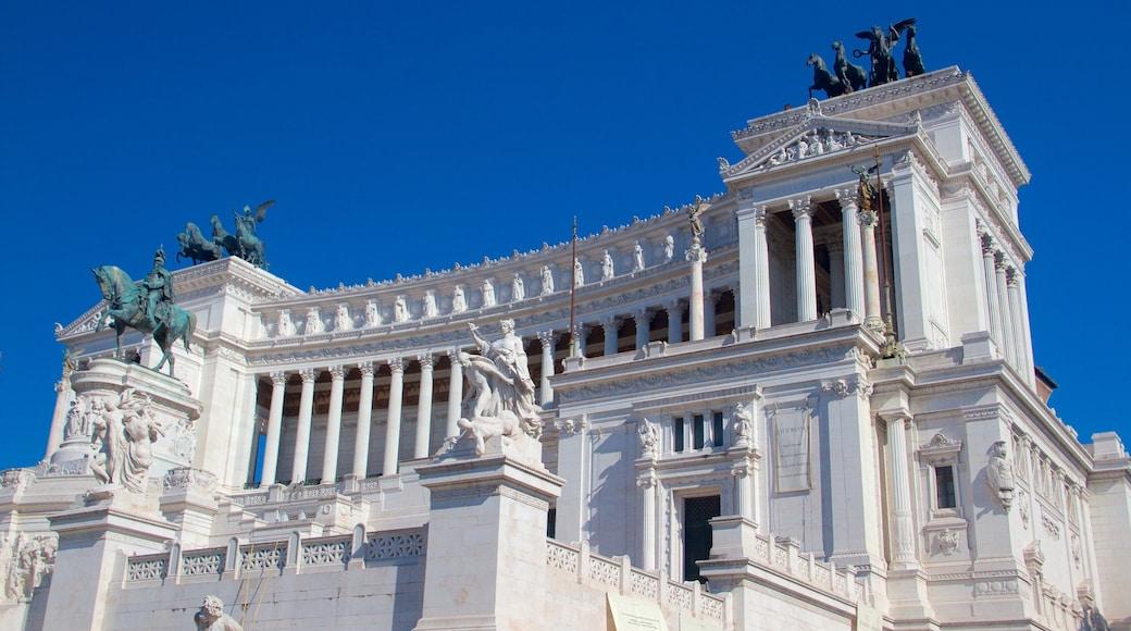 Nasjonalmonumentet for Victor Emmanuel II fasiliteter samt slott, statue eller skulptur og kulturarv