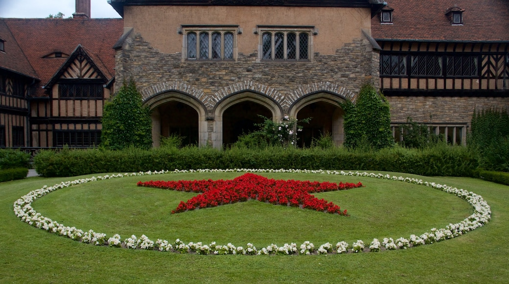 Schloss Cecilienhof which includes a garden and flowers