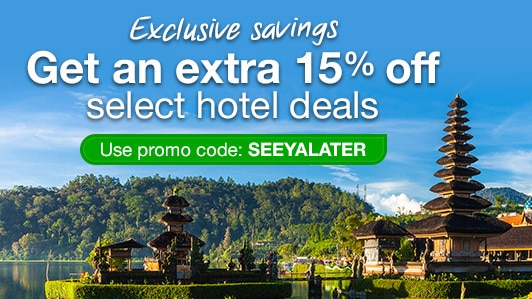 Save 15% on select hotels: SEEYALATER