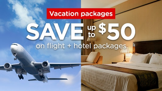 Save $50 on flight + hotel packages