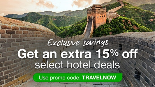 Save 15% on select hotels: TRAVELNOW