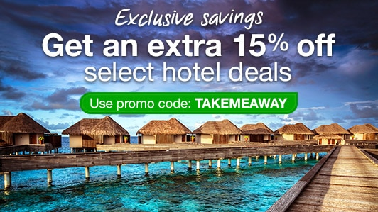 Save 15% on select hotels: TAKEMEAWAY