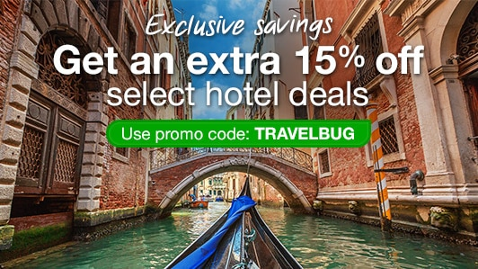 Save 15% on select hotels: TRAVELBUG