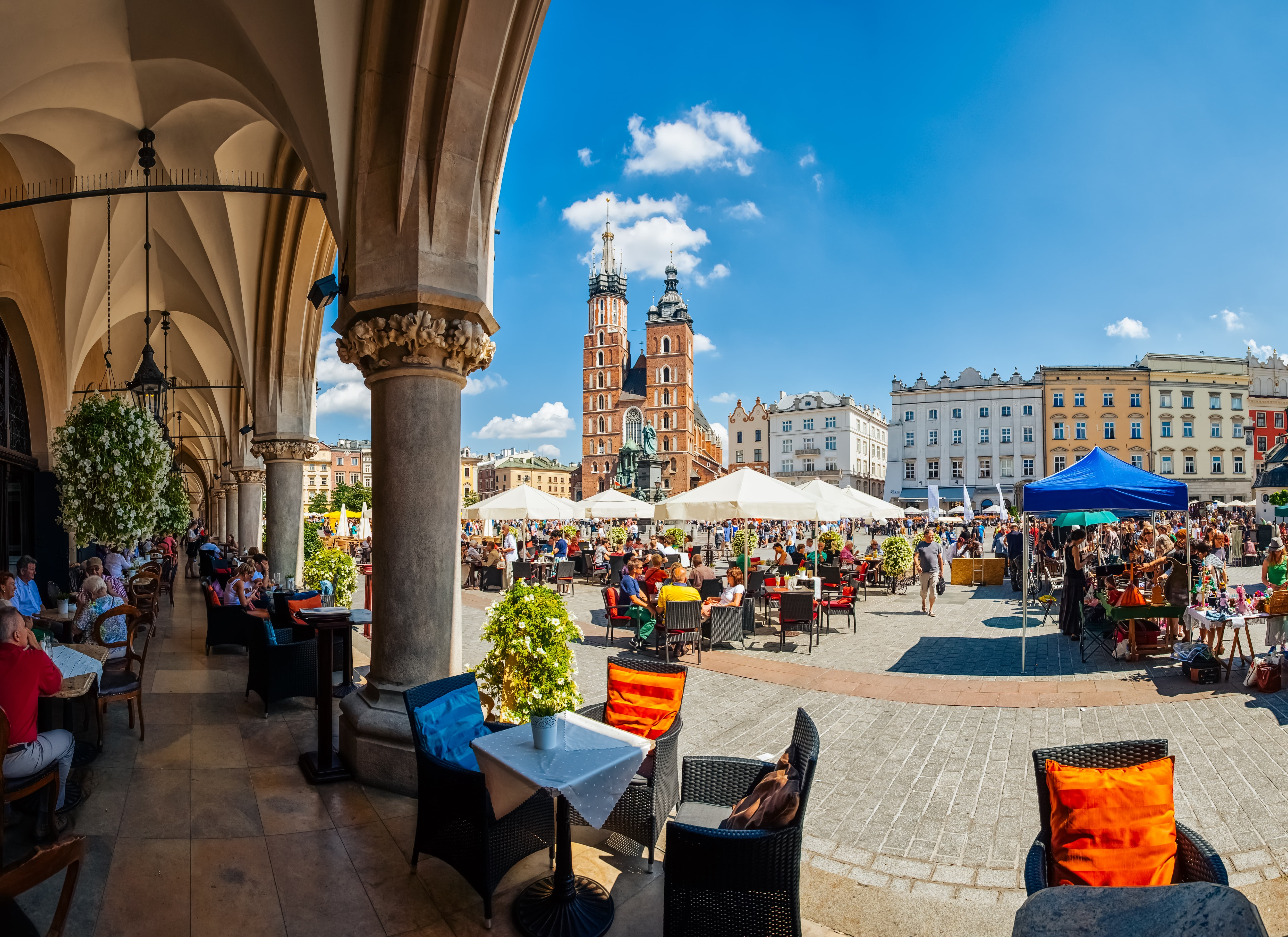 Coffee under Arches of the Cloth Hall Krakow