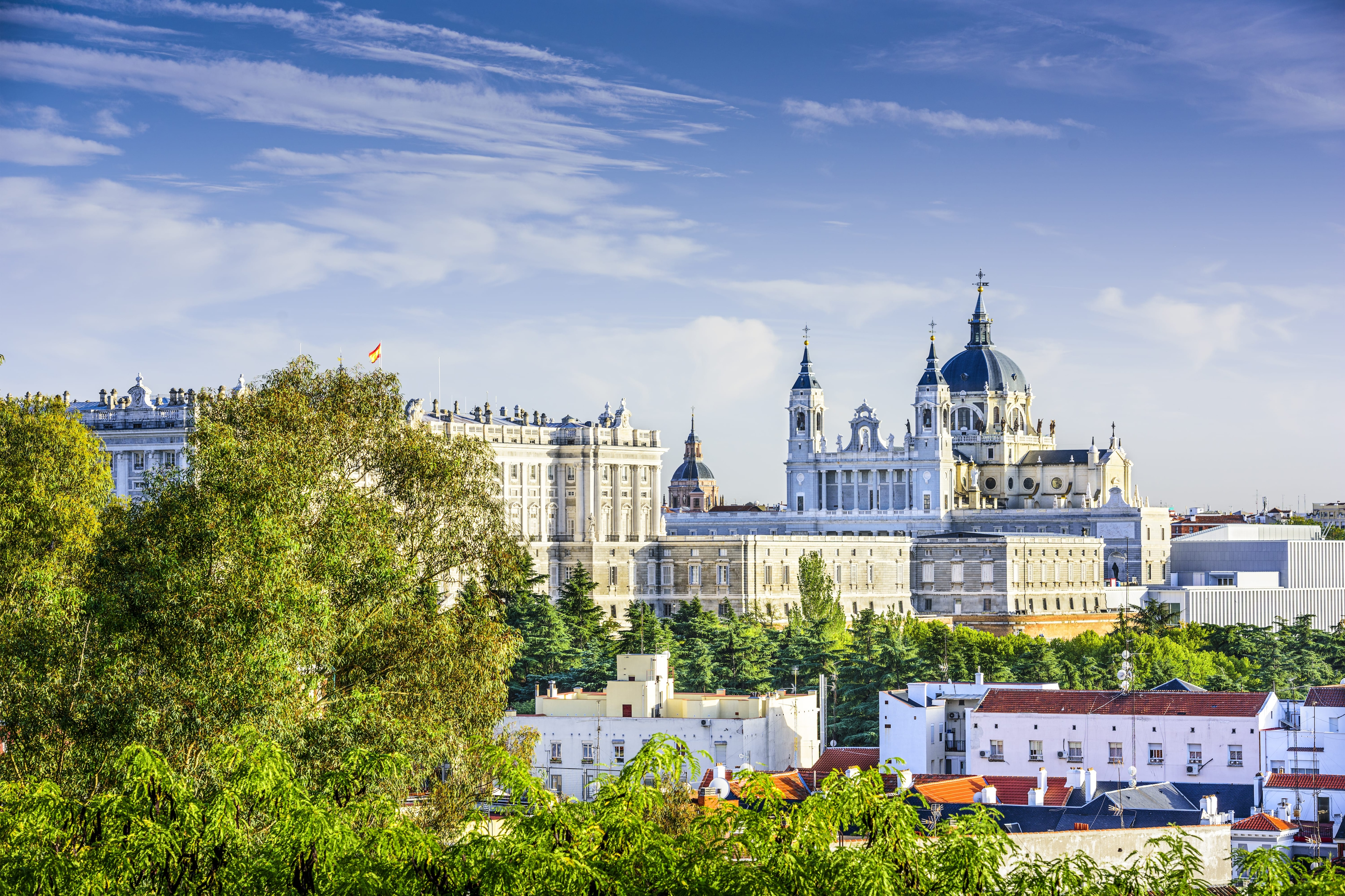 The Royal Palace and Santa María la Real de La Almudena Madrid