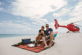 Great Barrier Reef Helicopter Flight with Snorkeling & Island Picnic