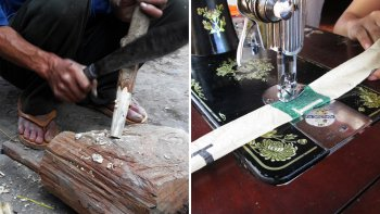Bamboo Weaving, Cement Bags Sewing & Flute Making