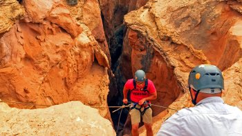 Challenging Full Day Canyoneering Adventure at Robber's Roost Wilderness