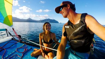 Guided Catamaran Sailing Adventure in Kaneohe Bay with Barbecue Lunch