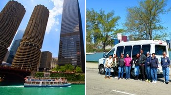 Minibus Sightseeing Tour with Chicago River Architecture Cruise