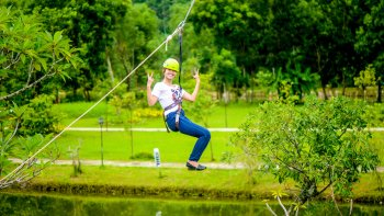 Private Full-Day Zipline Tour of Alba Thanh Tan & Hot Spring