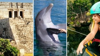 3-in-1 Tulum National Park & Xel-Ha Park Day Tour with Dolphin Swim