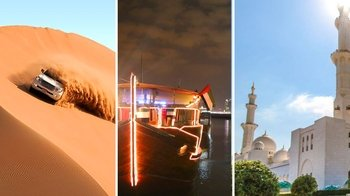 Desert Safari, Dhow Dinner Cruise & City Tour with Grand Mosque Visit