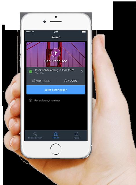 Handy zeigt Reiseplan in der App