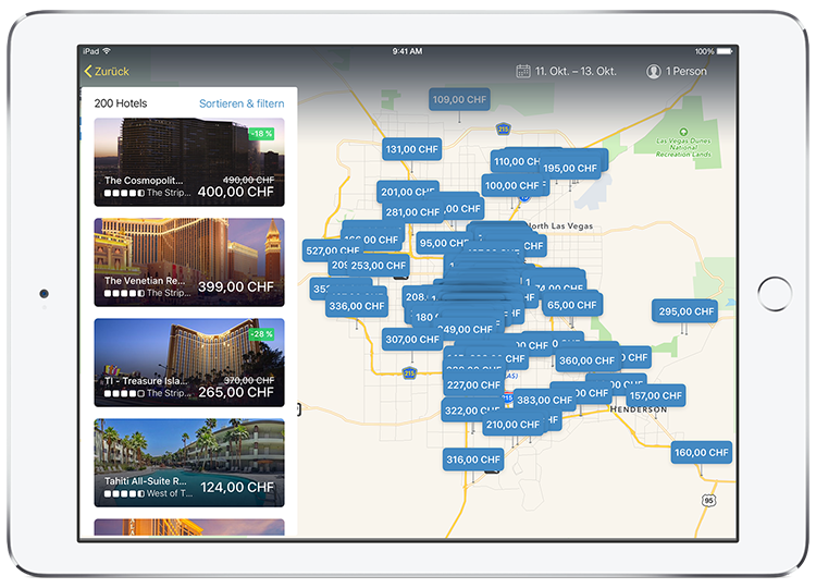 Tablet zeigt Hotelergebnisse in der App