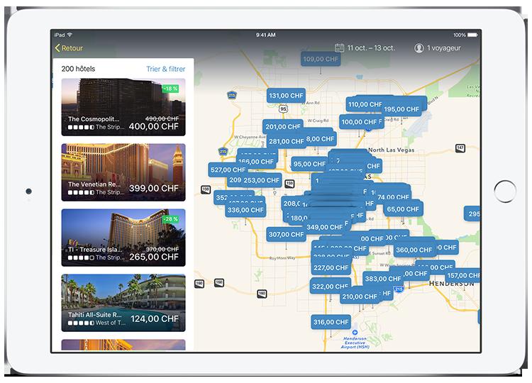 Tablette affichant les résultats d'hôtels sur l'appli